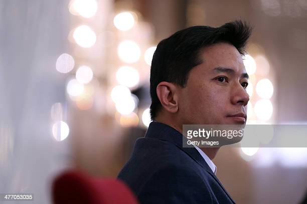 Robin Li chairman and chief executive officer of Baidu Inc attends a press conference during the second session of the 12th National People's...