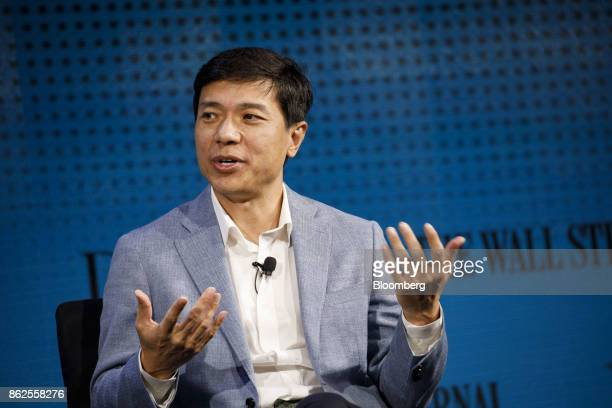 Robin Li chief executive officer of Baidu Inc speaks during the Wall Street Journal DLive global technology conference in Laguna Beach California US...
