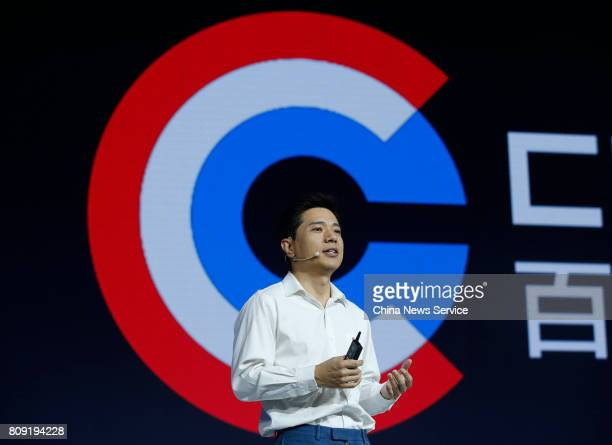 Robin Li CoFounder and CEO of Baidu speaks Baidu AI Developer Conference at China National Convention Center on July 5 2017 in Beijing China Baidu...