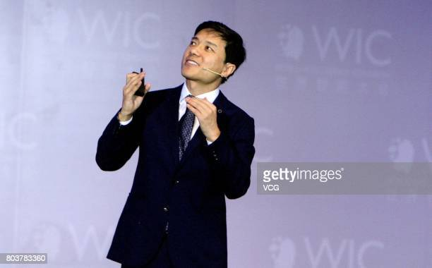 Robin Li Cofounder Chairman and CEO of Baidu Inc delivers a speech during World Intelligence Congress at Tianjin Meijiang Convention and Exhibition...