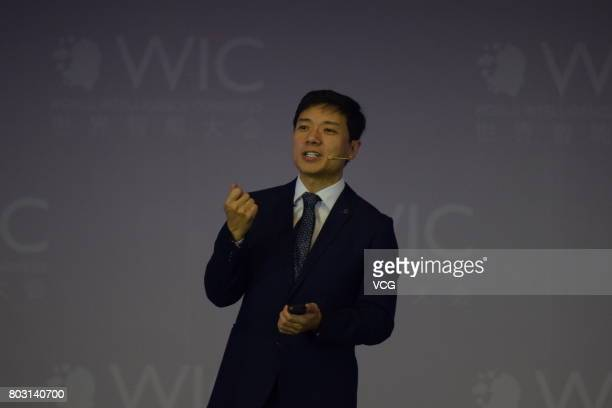 Robin Li Cofounder Chairman and CEO of Baidu Inc makes a speech themed on 'Artificial Intelligence the Future is Now' during World Intelligence...