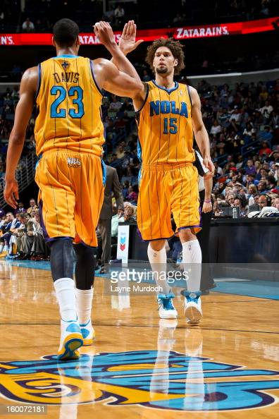 Robin Lopez and Anthony Davis of the New Orleans Hornets celebrate while playing the Houston Rockets on January 25 2013 at the New Orleans Arena in...
