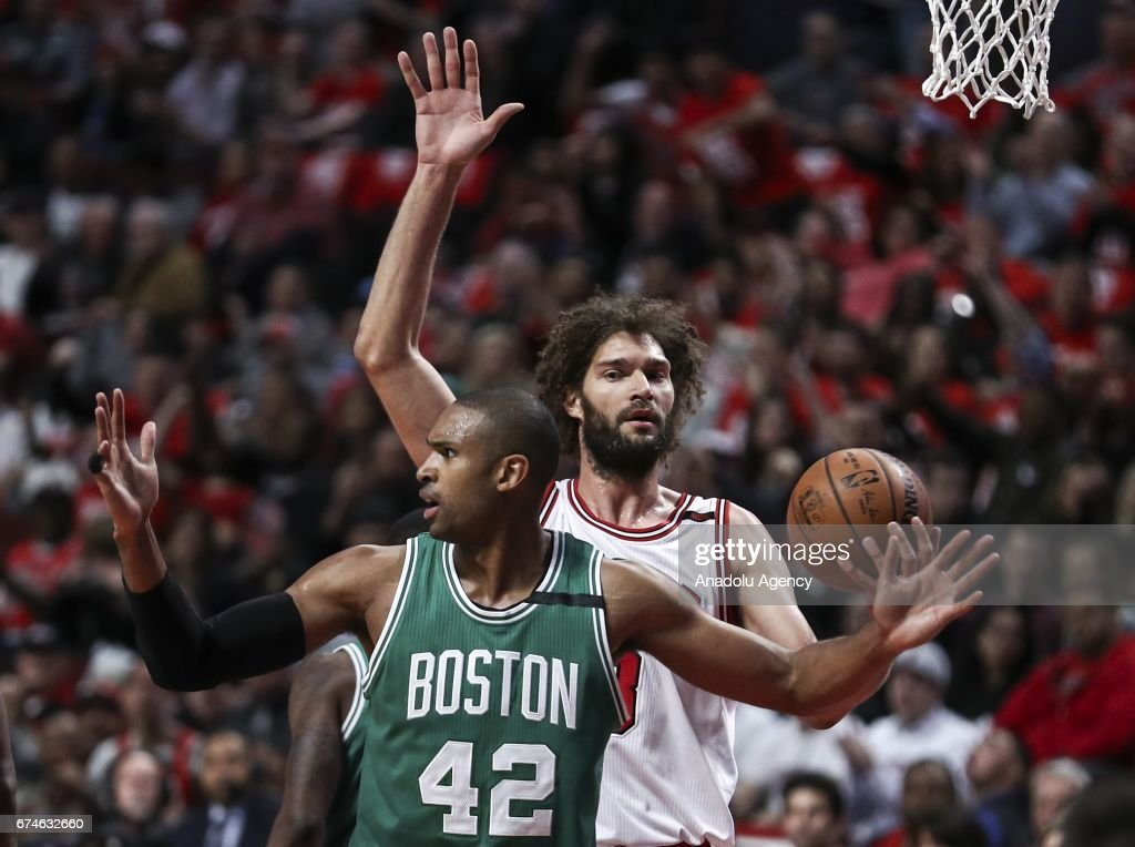 Robin Lopez (8) of Chicago Bulls in action against Al Horford (42) of Boston Celtics during the 2017 NBA Playoffs between Boston Celtics and Chicago Bulls at the United Center on April 28, 2017 in Chicago, Illinois, United States. The Celtics defeated the Bulls 105-83.