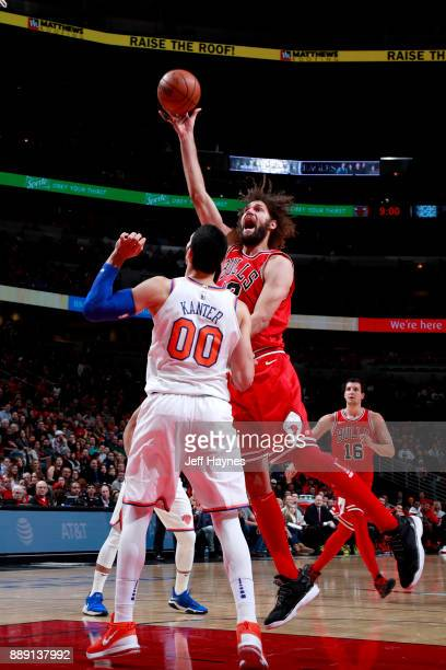 Robin Lopez of the Chicago Bulls goes to the basket against the New York Knicks on December 9 2017 at the United Center in Chicago Illinois NOTE TO...