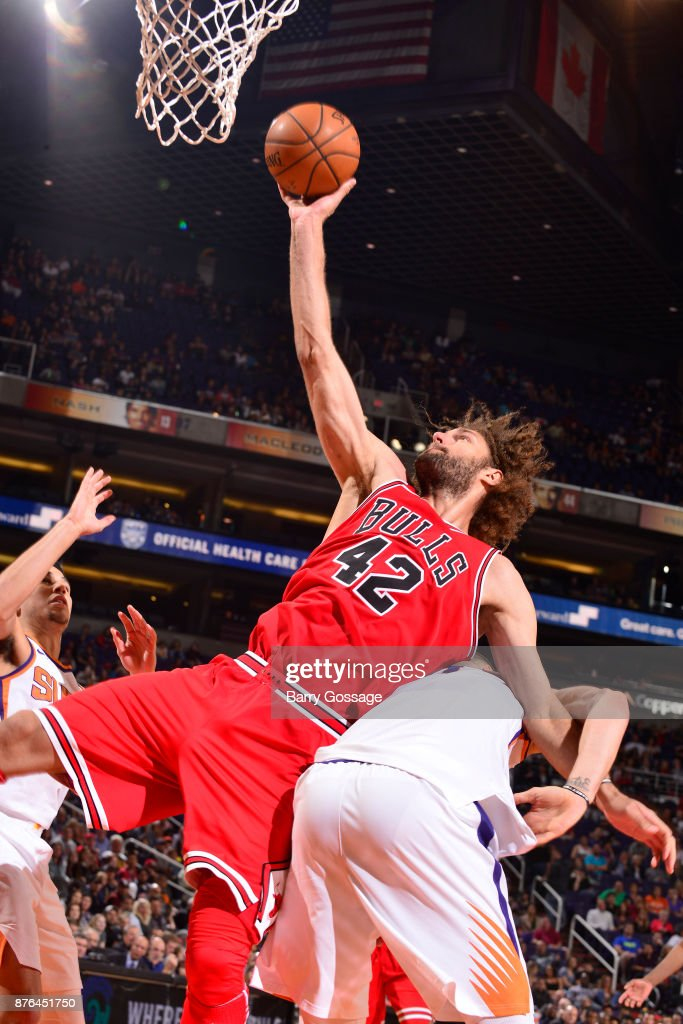 Robin Lopez #42 of the Chicago Bulls goes to the basket against the Phoenix Suns on November 19, 2017 at Talking Stick Resort Arena in Phoenix, Arizona.