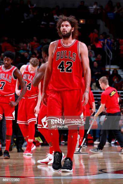 Robin Lopez of the Chicago Bulls looks on during the game against the New York Knicks on December 9 2017 at the United Center in Chicago Illinois...