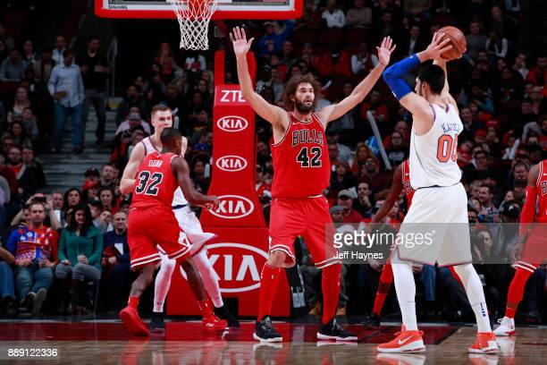 Robin Lopez of the Chicago Bulls plays defense against the New York Knicks on December 9 2017 at the United Center in Chicago Illinois NOTE TO USER...