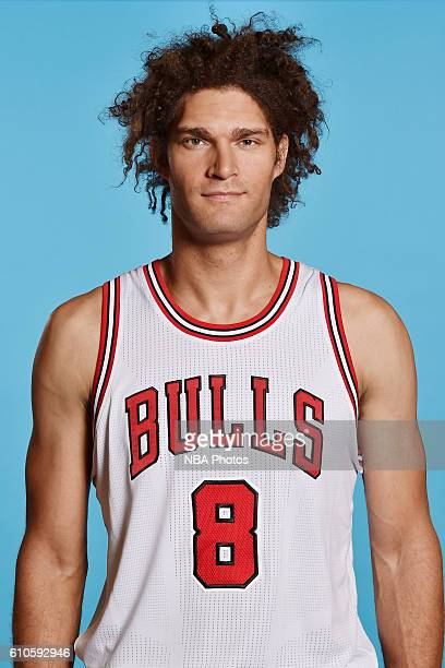 Robin Lopez of the Chicago Bulls poses for a head shot during the 20162017 Chicago Bulls Media Day on September 26 2016 at the Advocate Center in...