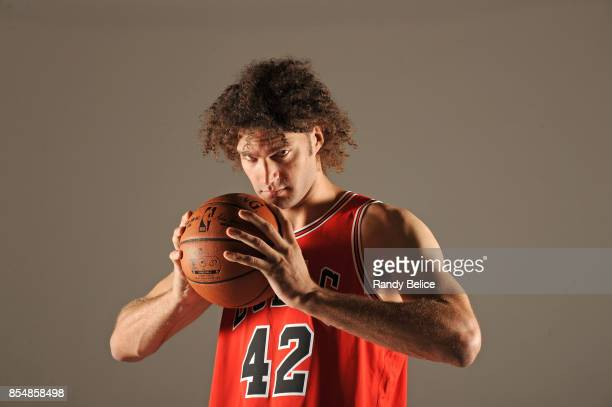 Robin Lopez of the Chicago Bulls poses for a portrait during the 201718 NBA Media Day on September 25 2017 at the United Center in Chicago Illinois...