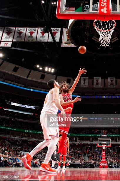 Robin Lopez of the Chicago Bulls shoots the ball against the New York Knicks on December 9 2017 at the United Center in Chicago Illinois NOTE TO USER...