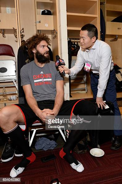 Robin Lopez of the Chicago Bulls talks to the media before the game against the Houston Rockets on February 3 2017 at the Toyota Center in Houston...
