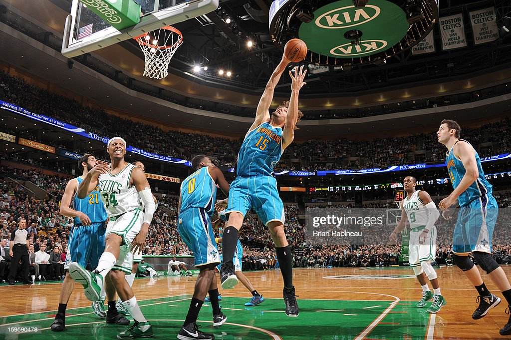 <a gi-track='captionPersonalityLinkClicked' href=/galleries/search?phrase=Robin+Lopez&family=editorial&specificpeople=2351509 ng-click='$event.stopPropagation()'>Robin Lopez</a> #15 of the New Orleans Hornets goes to the basket during the game between the Boston Celtics and the New Orleans Hornets on January 16, 2013 at the TD Garden in Boston, Massachusetts.