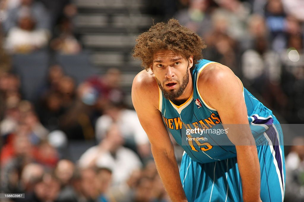 <a gi-track='captionPersonalityLinkClicked' href=/galleries/search?phrase=Robin+Lopez&family=editorial&specificpeople=2351509 ng-click='$event.stopPropagation()'>Robin Lopez</a> #15 of the New Orleans Hornets looks on during the game against the Charlotte Bobcats at the Time Warner Cable Arena on December 29, 2012 in Charlotte, North Carolina.