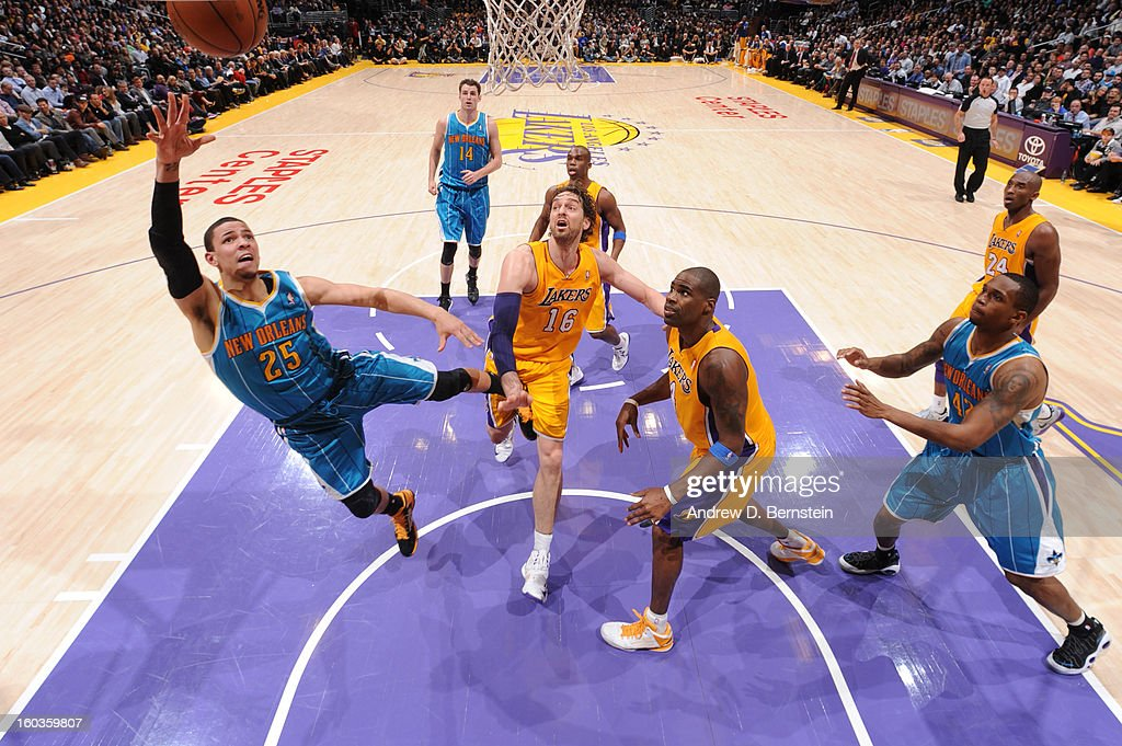Robin Lopez #15 of the New Orleans Hornets puts up a shot against the Los Angeles Lakers at Staples Center on January 29, 2013 in Los Angeles, California.