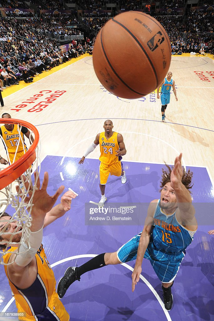 <a gi-track='captionPersonalityLinkClicked' href=/galleries/search?phrase=Robin+Lopez&family=editorial&specificpeople=2351509 ng-click='$event.stopPropagation()'>Robin Lopez</a> #15 of the New Orleans Hornets puts up a shot against the Los Angeles Lakers at Staples Center on April 9, 2013 in Los Angeles, California.