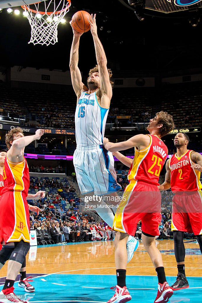 Robin Lopez #15 of the New Orleans Hornets rises for a dunk against the Houston Rockets on January 9, 2013 at the New Orleans Arena in New Orleans, Louisiana.
