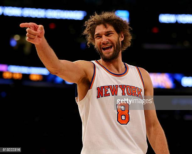 Robin Lopez of the New York Knicks is called for a technical foul as he tries to discuss a non call against the Portland Trail Blazers at Madison...