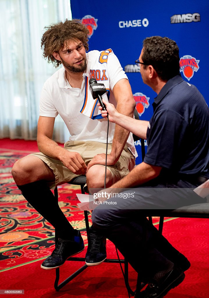 Robin Lopez of the New York Knicks is introduced to the public during a press conference on July 10 2015 at the Wynn Resort in Las Vegas Nevada NOTE...