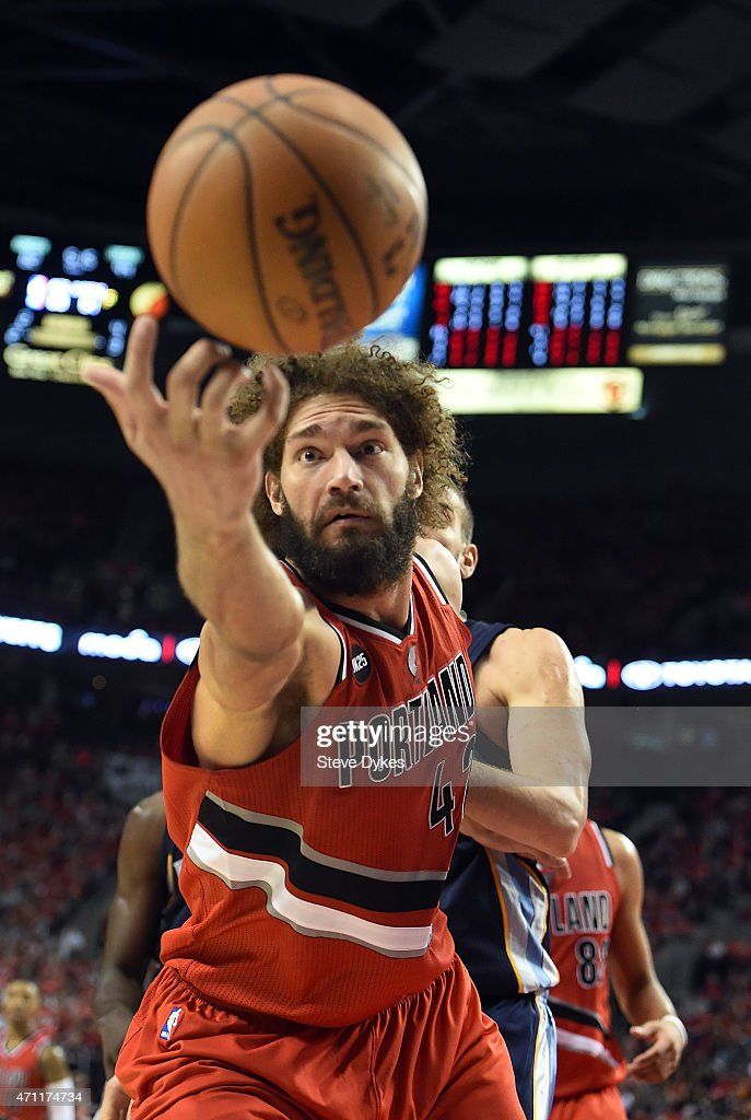 Robin Lopez of the Portland Trail Blazers can't quite get ahold of the ball during the fourth quarter in Game Three of the Western Conference...