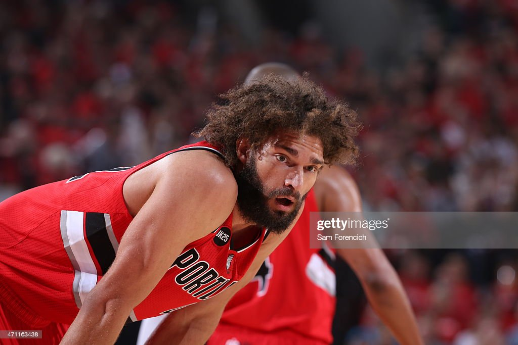 Robin Lopez of the Portland Trail Blazers during the game against the Memphis Grizzlies in Game Three of the Western Conference Quarterfinals during...