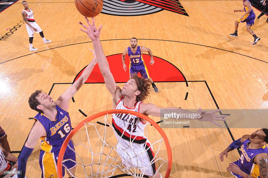 <a gi-track='captionPersonalityLinkClicked' href=/galleries/search?phrase=Robin+Lopez&family=editorial&specificpeople=2351509 ng-click='$event.stopPropagation()'>Robin Lopez</a> #42 of the Portland Trail Blazers grabs a rebound against the Los Angeles Lakers on March 3, 2014 at the Moda Center Arena in Portland, Oregon.