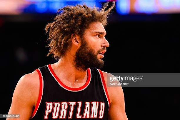 Robin Lopez of the Portland Trail Blazers looks on during a game against the New York Knicks at Madison Square Garden on December 7 2014 in New York...