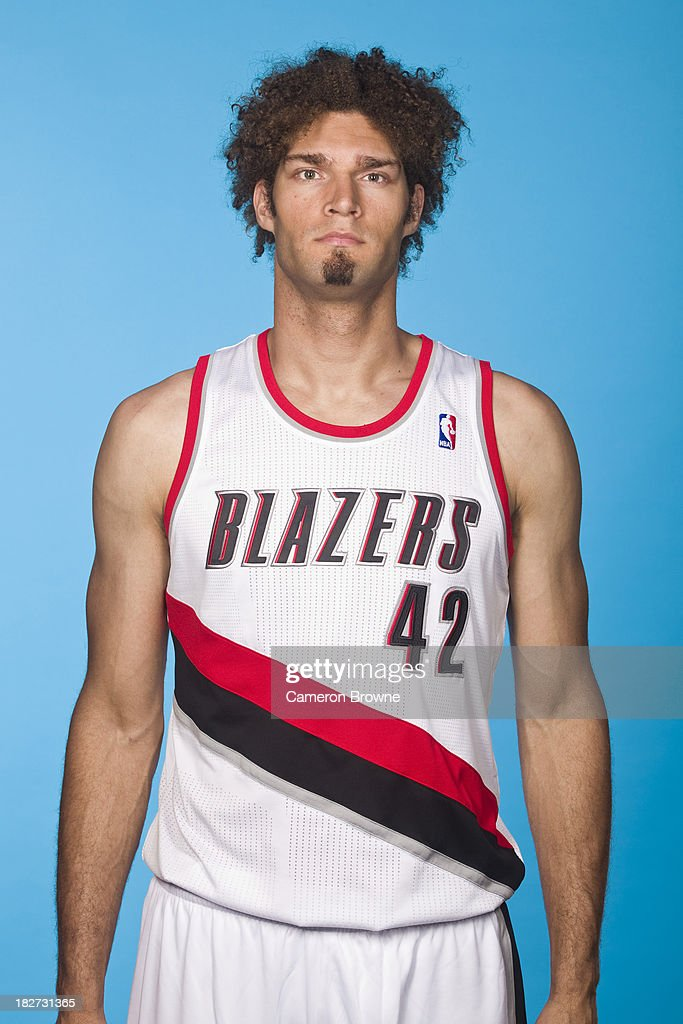Robin Lopez of the Portland Trail Blazers poses for a picture during media day on September 30 2013 at the Rose Garden Arena in Portland Oregon NOTE...