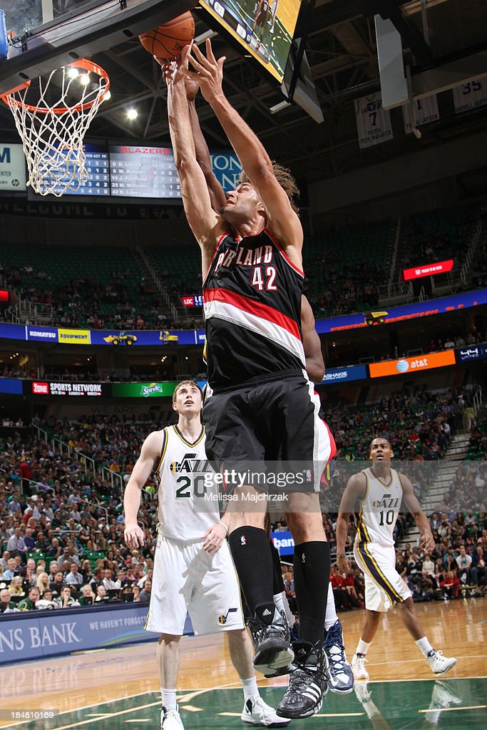 <a gi-track='captionPersonalityLinkClicked' href=/galleries/search?phrase=Robin+Lopez&family=editorial&specificpeople=2351509 ng-click='$event.stopPropagation()'>Robin Lopez</a> #42 of the Portland Trail Blazers shoots against the Utah Jazz at Energy Solutions Arena on October 16, 2013 in Salt Lake City, Utah.