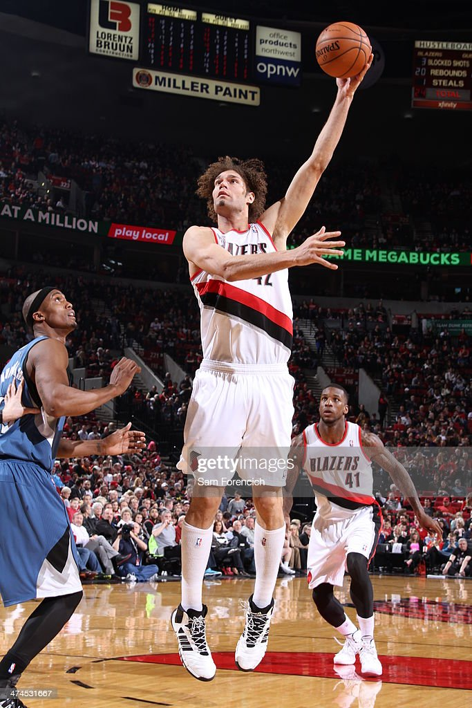 Robin Lopez #42 of the Portland Trail Blazers takes a shot during a game against the Minnesota Timberwolves on February 23, 2014 at the Moda Center Arena in Portland, Oregon.