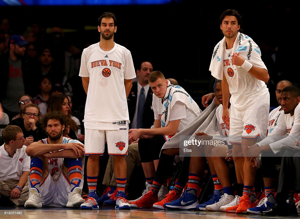 Robin LopezJose CalderonKristaps Porzingis and Sasha Vujacic of the New York Knicks react to the loss against the Portland Trail Blazers at Madison...