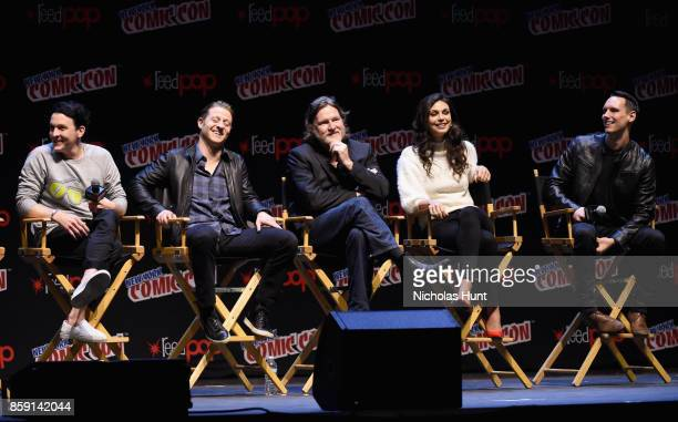 Robin Lord Taylor Ben McKenzie Donal Logue Morena Baccarin and Cory Michael Smith speak onstage at the Gotham Panel during the 2017 New York Comic...