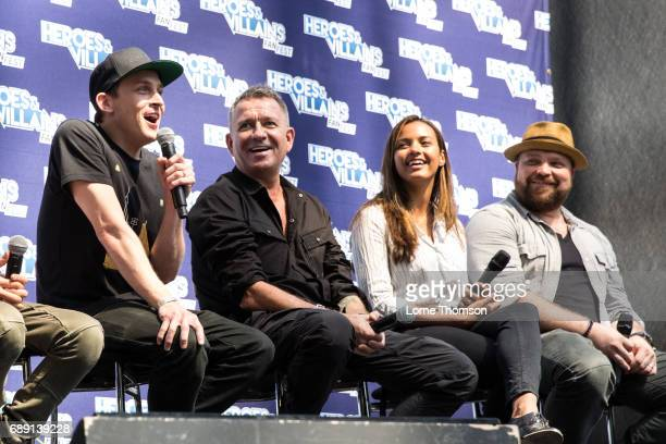 Robin Lord Taylor Sean Pertwee Jessica Lucas and Drew Powell take part in the Gotham Panel on day one of the Heroes and Villians Convention at...