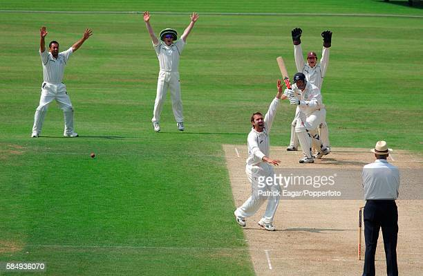 Robin MartinJenkins of Sussex survives a confident appeal from Surrey bowler Ian Salisbury and fielders Adam Hollioake Ali Brown and Jonathan Batty...
