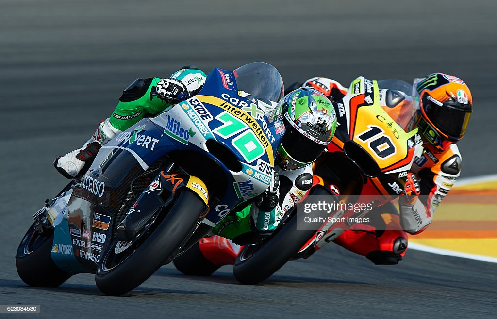 Robin Mulhauser of Switzerland and Technomag Racing Interwetten rounds the bend during the MotoGP of Valencia - Race at Comunitat Valenciana Ricardo Tormo Circuit on November 13, 2016 in Valencia, Spain.