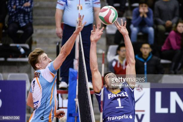 Robin Overbeeke of Nantes and Nuno Pinheiro of Paris during the volleyball Ligue A match between Paris Volley and Nantes Reze at Salle Pierre Charpy...