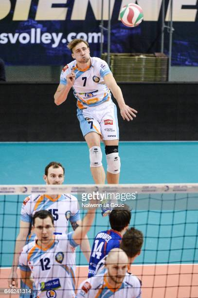 Robin Overbeeke of Nantes during the volleyball Ligue A match between Paris Volley and Nantes Reze at Salle Pierre Charpy on February 23 2017 in...