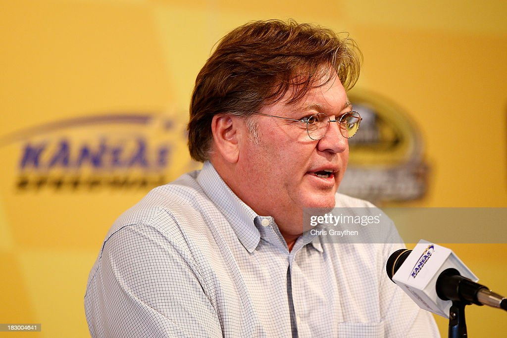 Robin Pemberton, NASCAR Vice President of Competition speaks to the media following for the NASCAR Sprint Cup Series at Kansas Speedway on October 3, 2013 in Kansas City, Kansas.