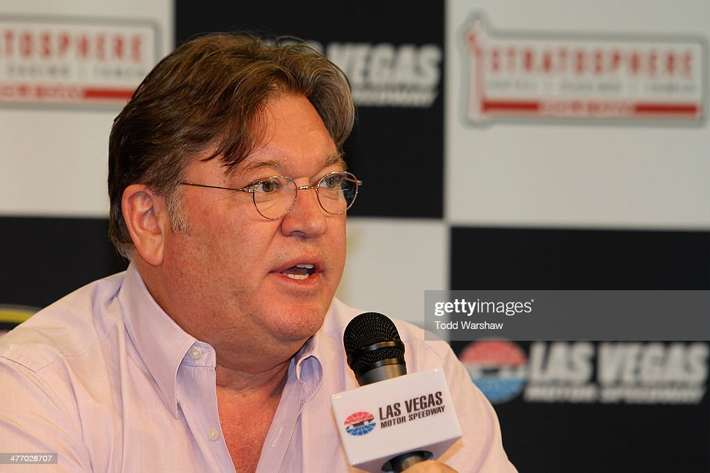 Robin Pemberton, vice president of competition at NASCAR, speaks to the media after a testing session at Las Vegas Motor Speedway on March 6, 2014 in Las Vegas, Nevada.
