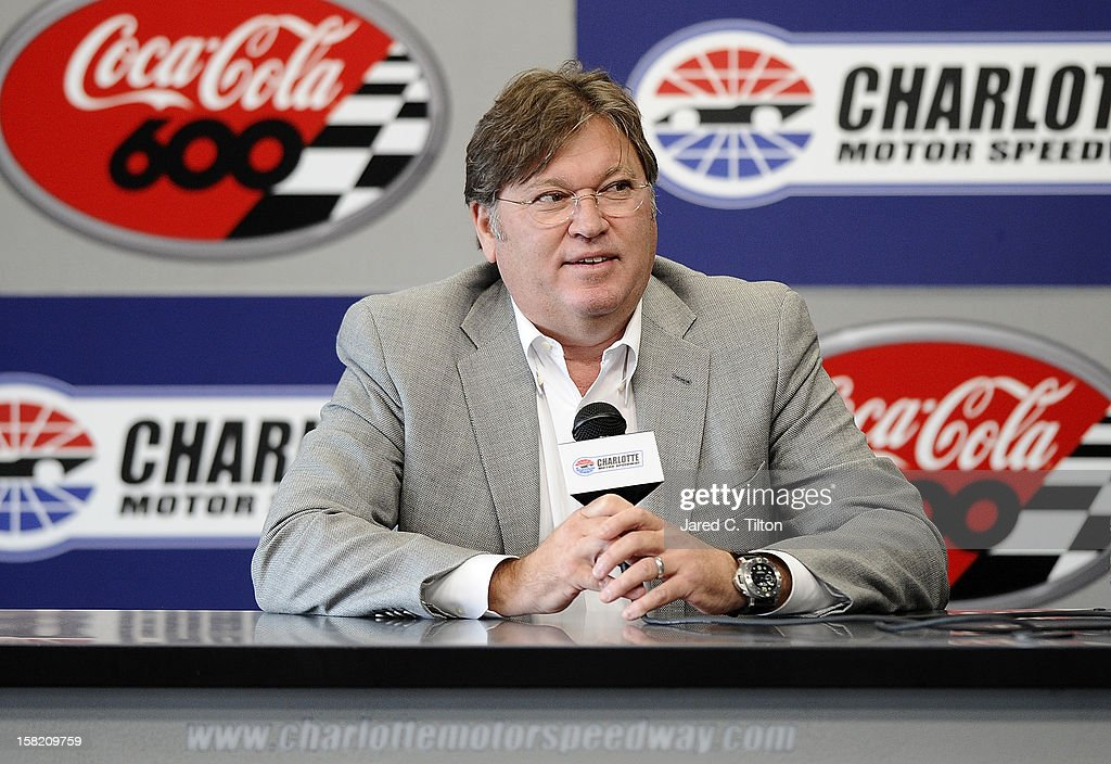 Robin Pemberton, vice president of competition for NASCAR, speaks with the media during testing at Charlotte Motor Speedway on December 11, 2012 in Concord, North Carolina.