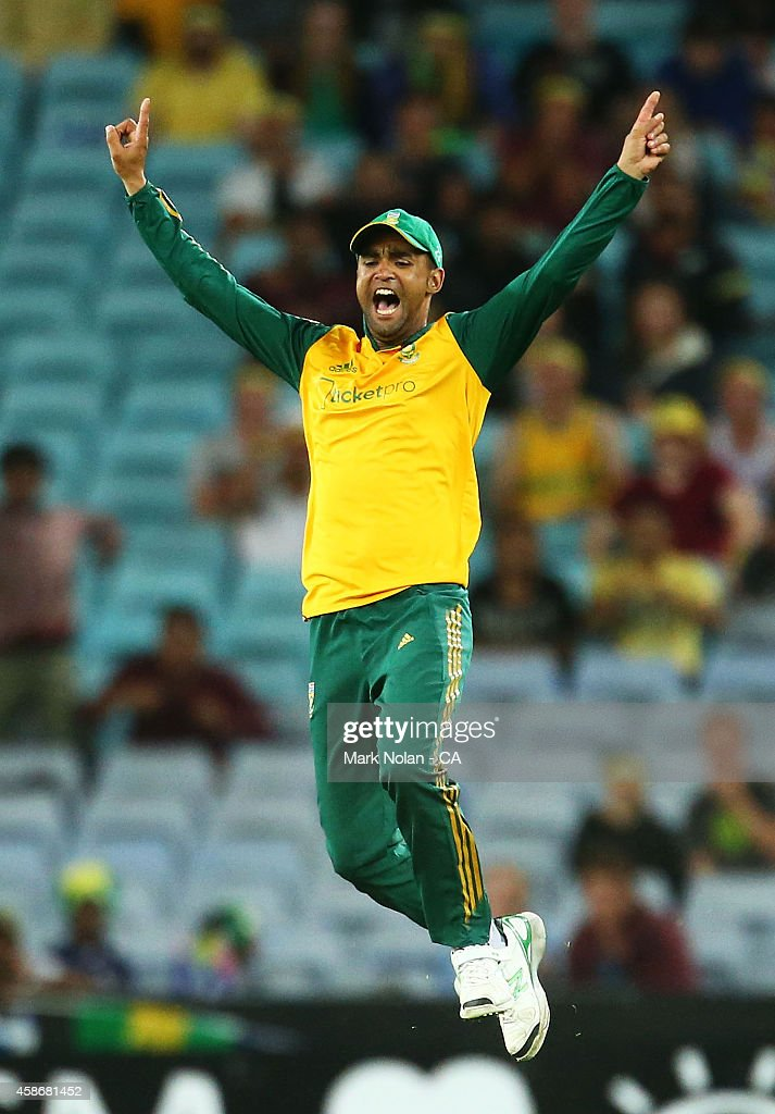 <a gi-track='captionPersonalityLinkClicked' href=/galleries/search?phrase=Robin+Peterson&family=editorial&specificpeople=843359 ng-click='$event.stopPropagation()'>Robin Peterson</a> of South Africa celebrates a wicket during game three of the Men's International Twenty20 series between Australia and South Africa at ANZ Stadium on November 9, 2014 in Sydney, Australia.