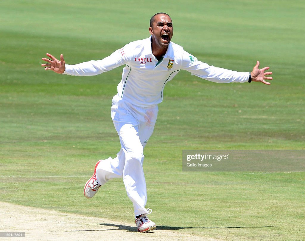 Robin Peterson of South Africa celebrates the wicket of Brad Haddin of Austrailia during day 2 of the 1st Test match between South Africa and...