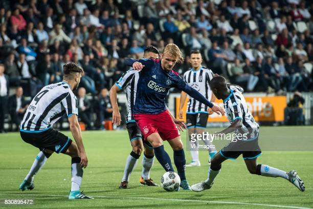 Robin Propper of Heracles Almelo Joey Pelupessy of Heracles Almelo Kasper Dolberg of Ajax Brahim Darri of Heracles Almelo Jamiro Monteiro during the...