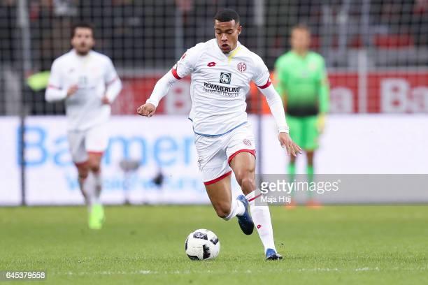 Robin Quaison of Mainz controls the ball during the Bundesliga match between Bayer 04 Leverkusen and 1 FSV Mainz 05 at BayArena on February 25 2017...