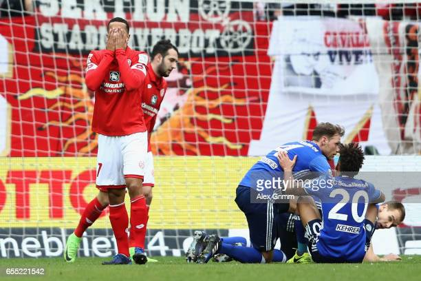 Robin Quaison of Mainz reacts during the Bundesliga match between 1 FSV Mainz 05 and FC Schalke 04 at Opel Arena on March 19 2017 in Mainz Germany