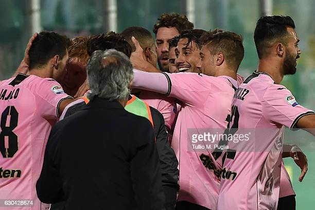 Robin Quaison of Palermo is celebrated after scoring the opening goal during the Serie A match between US Citta di Palermo and Pescara Calcio at...