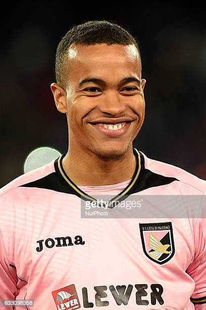 Robin Quaison of US Citta di Palermo during the Serie A TIM match between SSC Napoli and US Citta di Palermo at Stadio San Paolo Naples Italy on 29...