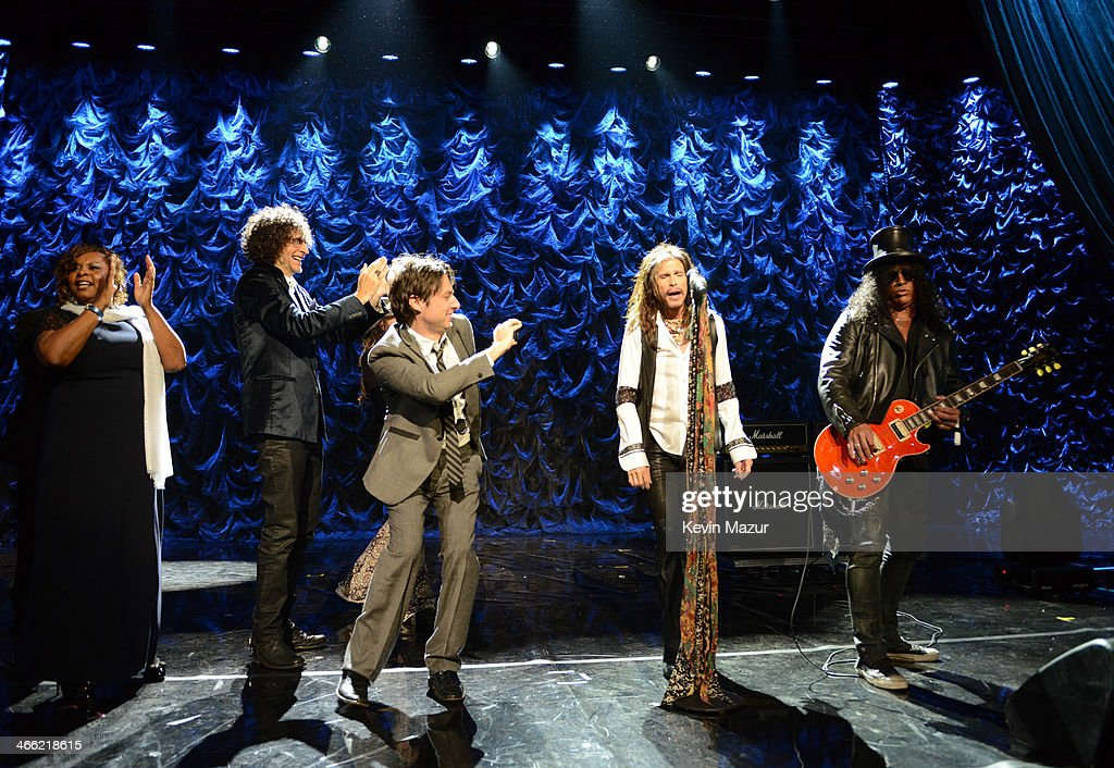 Robin Quivers Howard Stern Rob Zombie Zach Braff Steven Tyler and Slash onstage at 'Howard Stern's Birthday Bash' presented by SiriusXM produced by...