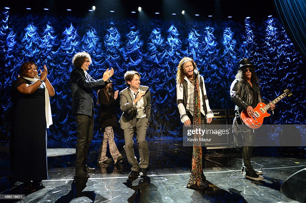 Robin Quivers, Howard Stern, Rob Zombie, Zach Braff, Steven Tyler and Slash onstage at 'Howard Stern's Birthday Bash' presented by SiriusXM, produced by Howard Stern Productions at Hammerstein Ballroom on January 31, 2014 in New York City.