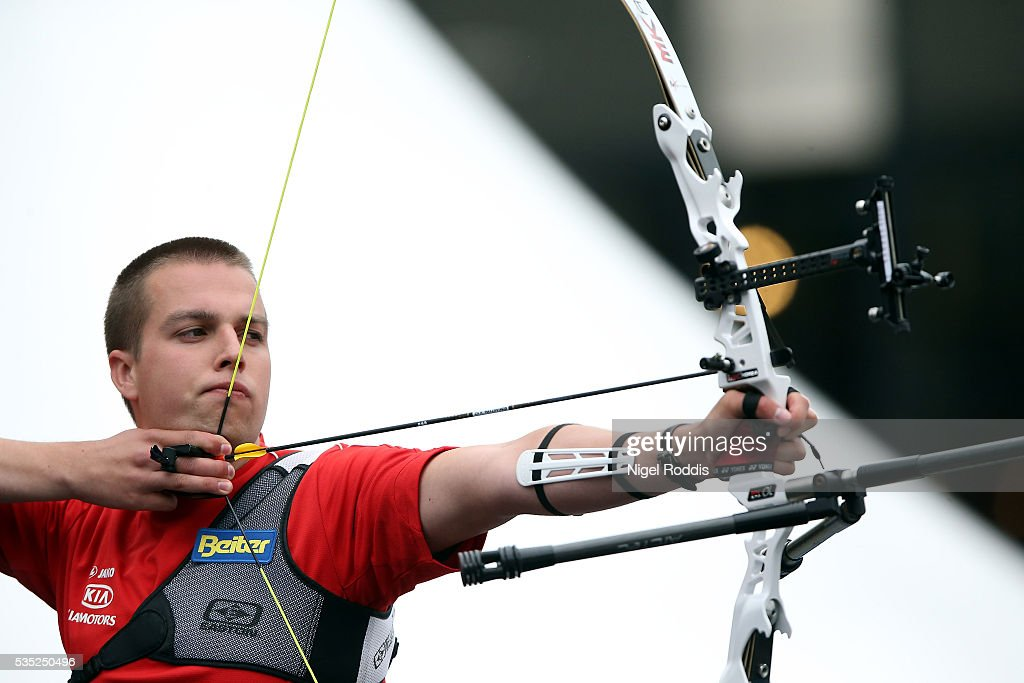 Robin Ramaekers of Belgium shoots during the Men's Recurve Bronze medal team match at the European Archery Championship on May 29, 2016 in Nottingham, England.