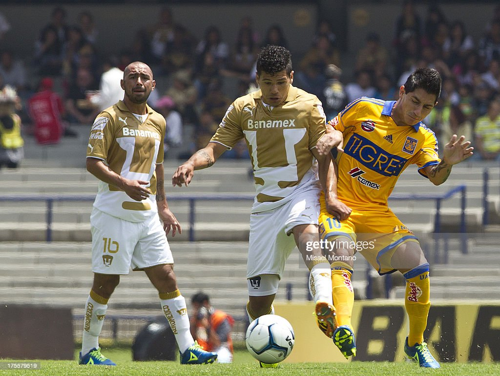 Robin Ramirez and Danilinho fight for the ball during a match between Pumas and Tigres as part of Torneo Apertura of Liga MX 2013 ar Olympic Stadium on August 04, 2013 in Mexico City, Mexico.